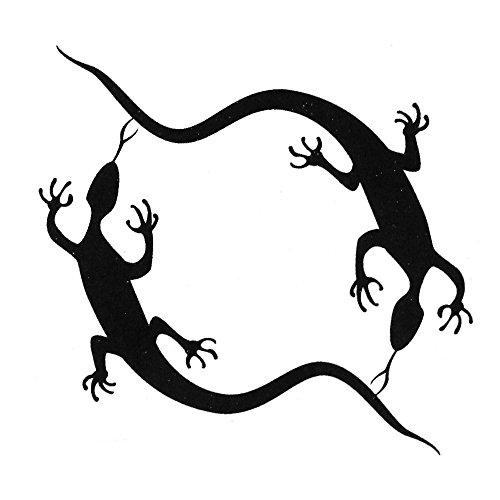 tumundo Einmal Tattoo Klebe-Tattoo Temporäres Tattoo Aufkleber Motiv Schmetterling Kuss-Mund Feder Gecko Sterne Schwarz Farbig, Variante:Modell 4