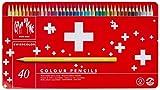Caran d'Ache Swisscolor Scatola in Metallo 40 Matite Colorate Acquerellabili, multicolore