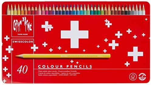 Caran d'Ache 1285.740 Crayon de couleur Swisscolor avec boîte en métal, paquet de 40