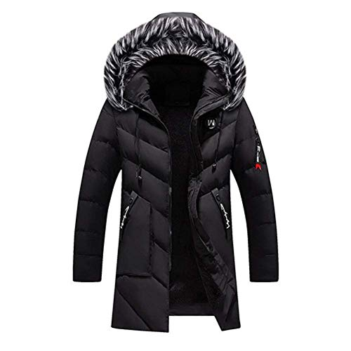 Mens Winter Warm Long Down mit Kapuze Dicker Parka Mantel Trench Zipper Jacke Outwear Overcoat, Denzell Outwear Winter Storm Parka Plus Größe Chamarras De Hombre (Schwarz, 2XL)