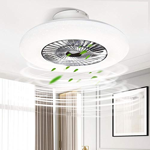 PADMA Modern LED Ceiling Light with Fan, 40W Dimmable Ceiling Fan Lights with Remote Control, Adjustable Wind Speed, Fan Lights for Living Room, Bedroom, Hallway Dining Room, Office,3000-6000K.