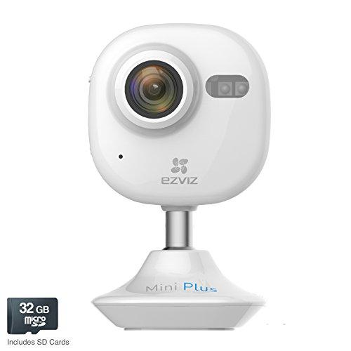 EZVIZ Mini Plus HD 1080p Wi-Fi Video Security Camera 32GB MicroSD Alexa com Whit