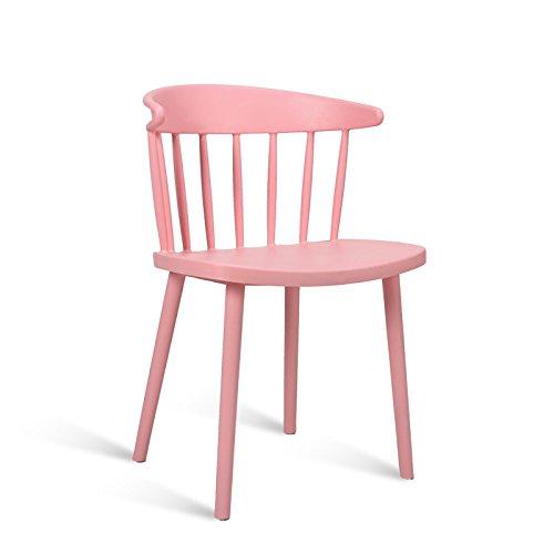Xin-stool Moderner einfacher Esszimmerstuhl/Haupttisch und Stuhl/Plastiklehne/beiläufiger Verhandlungsstuhl/Kaffeehausstuhl (Farbe : Pink)