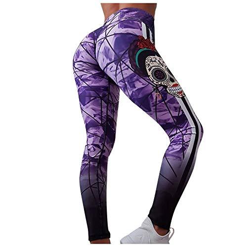 Leggings Frauen Schlank und Hip Lifting Druck Yoga Hosen Leggings Bleistifthosen (M,Lila)