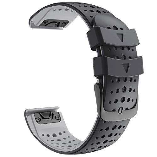 ANBEST 22mm Correa de Silicona Compatible con Fenix 6/Fenix 5/Fenix 6 Pro/Fenix 5 Plus Pulsera, Pulsera de Repuesto de con Liberación Rápida para Forerunner 935/945 Smart Watch