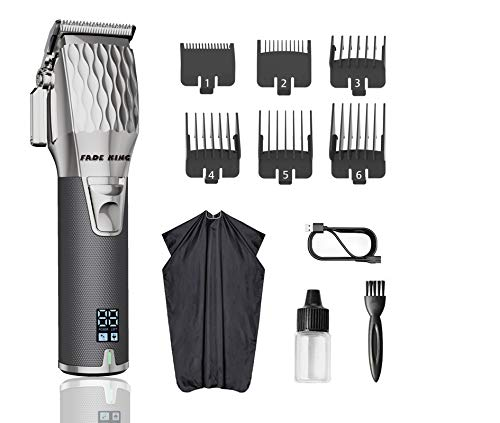Fade King Hair Clippers for Men Professional Cordless Clippers for Hair Cutting Beard Trimmer Barbers Grooming Kit Rechargeable, LCD Display