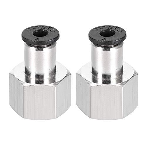 Empuje para conectar el adaptador de conexión de tubo de 4 mm, tubo OD X 1/4NPT, conector neumático derecho hembra, conectar el conector de manguera de 2 piezas.