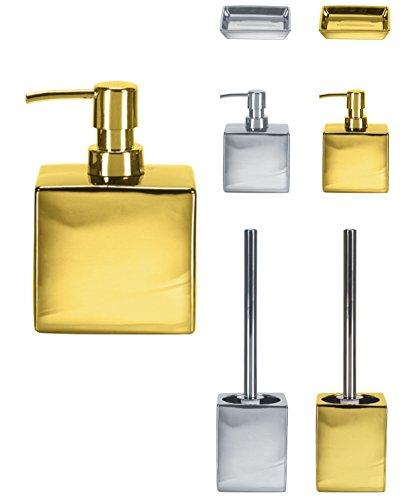 KW Toilettenbürste und- Halter, glamourös, aus Porzellan/Keramik, Seifenspender, gold, Soap Dispenser