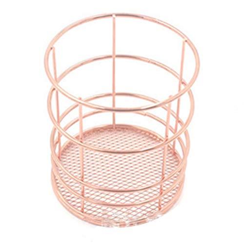Canghai Caja de almacenamiento de maquillaje de hierro de oro rosa con diseño de pincel delineador de ojos, taza de almacenamiento para tocador, maquillaje, caja de almacenamiento (05)