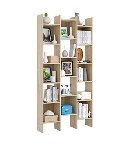 Esidra Libreria Design, bifacciale, 3 colonne, Laminato Bianco, 96 x 192 x 26 cm