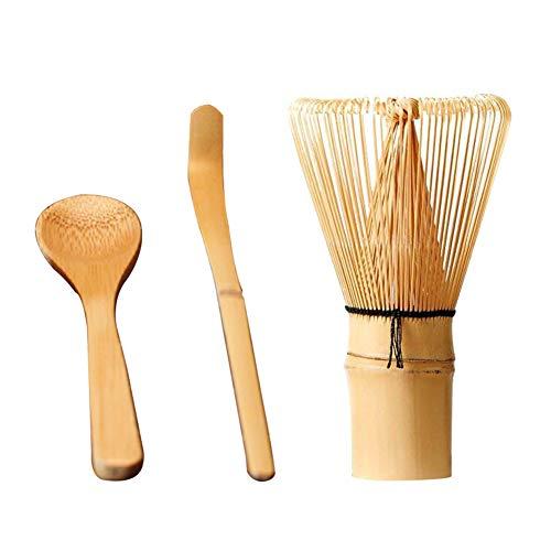 Juego de té de 3 piezas de bambú tradicional té Ceremonia herramienta de regalo batidor mezcladores cocina seguro Stir Matcha cuchara cuchara
