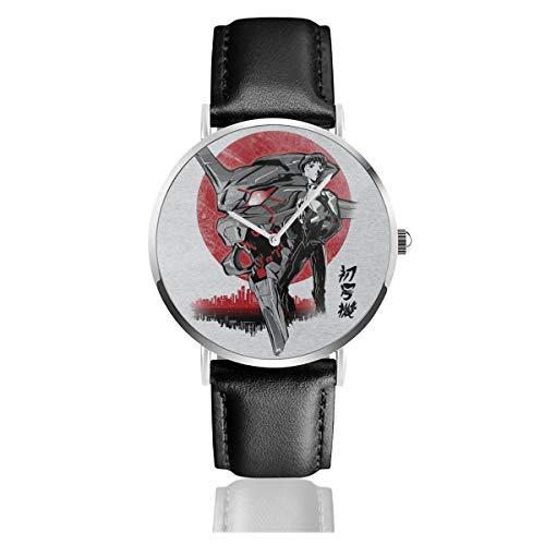 Unisex Business Casual Neon Genesis Evangelion First Unit Uhren Quarz Leder Armbanduhr mit schwarzem Lederband für Männer Frauen Junge Kollektion Geschenk