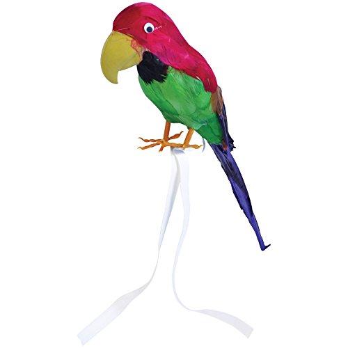 Papagei mit echten Federn ca. 42cm Vogel f. Kostüm Pirat Hawaii Deko Piraten Südsee Strand Party