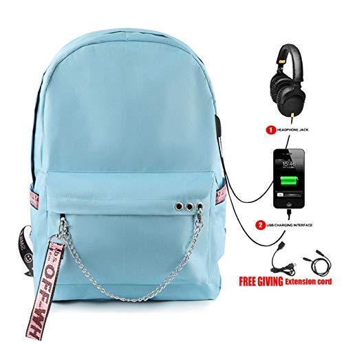Mochila USB, Mochila Escolar para Estudiantes, Bolsa de Viaje para Exteriores, Bolsa para computadora portátil, Color sólido, 26 * 15 * 44cm B Azul