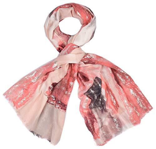 Sjaal dames licht halsdoek lente glitter zilver metallic dier beige roze abrikoos rosé