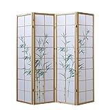 Homestyle4u 265, Paravent Raumteiler 4 teilig, Holz Natur, Reispapier Weiß, Bambus Motiv Grün