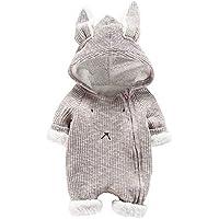 BBSMILN Mameluco Bebe Niño Mono Bebe Invierno Oreja de Conejo Encapuchado Ropa Bebe Niña Recien Nacido