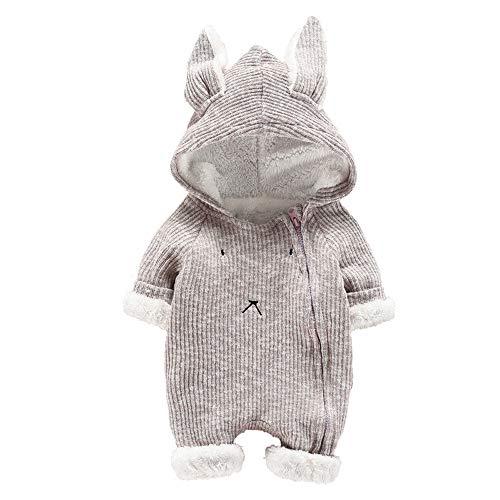 SUCES Baby Strampler Neugeborene Süß Herbst Kapuze Warm Mädchen Overall Jungen Outfits Schön Hoodie Dick Set (Grau,60)