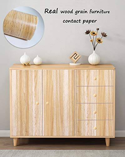 "Yellow Wood Grain Contact Paper Self Adhesive Film Wood Peel and Stick Wallpaper Removable Textured Wood Decorative Furniture Covering Faux Vinyl Shelf Drawer Liner Furniture Renovation 78.7""x17.7"""
