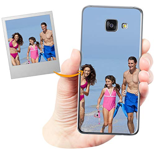 Coverpersonalizzate.it Cover Personalizzata per Samsung Galaxy A3 2016con la Tua Foto, Immagine o Scritta - Custodia Morbida in TPU Gel Trasparente - Stampa di altissima qualità
