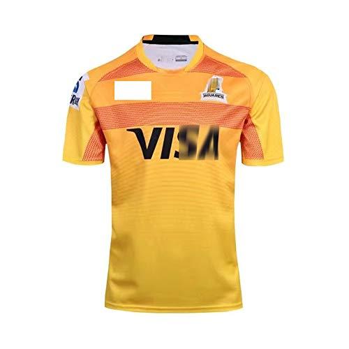 GFGD Camiseta de Rugby de Local y visitante de Jaguars, Camisetas de Rugby de Partido para Hombres Mujeres Kid's Rugby Fan Shirts para Regalo de cumpleaños, Amarillo-XL