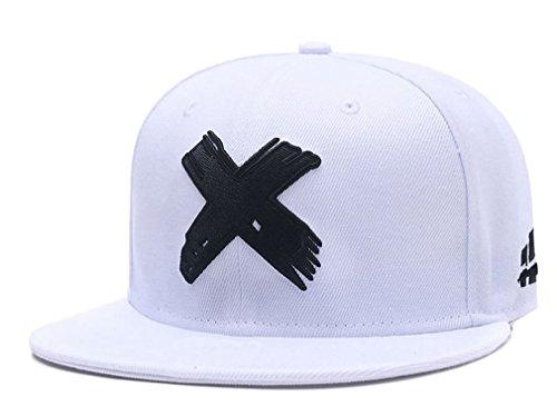 Quanhaigou Embroidered X Snapback Hats for Men and Women Adjustable Hip Hop Boy Baseball Cap White