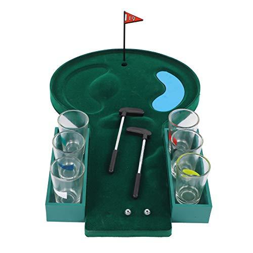 Weiyiroty Tisch Golf Shot Glas-Trinkspiel Tragbar Mini Golfloch Tisch Billard Spielset Golf Neuheit Geschenke füR MäNner Erwachsene BüRo KüChe Bar Auto 15.7 X 9.8 X 1.4 Zoll