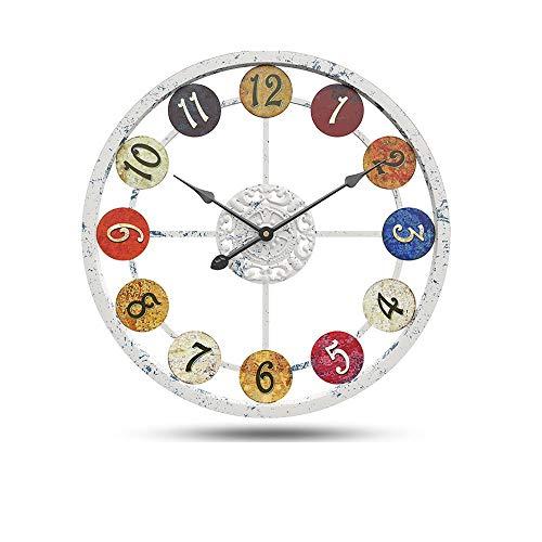 SWNN Relojes de Pared Labrado del Hierro Reloj De Pared Decorativos Creativa Salón Reloj De Pared De Silencio Reloj Electrónico De Tamaño 60cm * 60cm