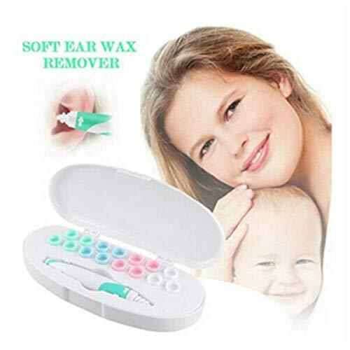DEKA.O84 Ear Wax Remover Kit de Herramientas de eliminación de Cera del oído con 16 Piezas Cabezas Lavables de Silicona de Repuesto seguras para Kit de Cuidado del oído para niños y Adultos (1 pcs)