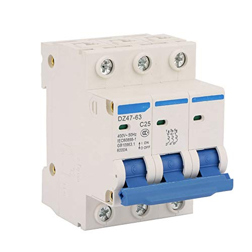 DZ47-63 C25 3P - Interruptor diferencial (25 A, 400 V, interruptor diferencial, protección contra fugas, 6 KA, 50 Hz, 30 mA, protección contra sobrecarga, cortocircuitos)