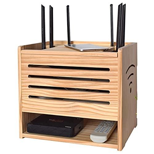 Soporte de Rack de enrutador, Caja de Almacenamiento WiFi de 2 Niveles, Caja organizadora de Cables Decorativa, Estante de Caja de Almacenamiento de Escritorio (Color : Natural, Size : 32×22×30cm)