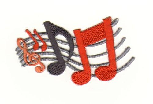 Aufnäher Bügelbild Iron on Patches Applikation Musik Notenschlüssel Noten