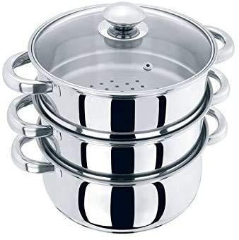 22CM 3 Tier Stainless Steel Induction Hob Steamer with Glass Lid Cookware Pot & Pan Set