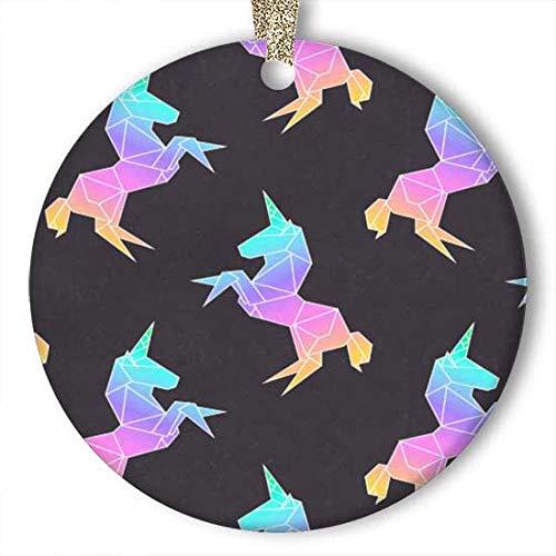 EaYanery Adorno de origami de unicornio arcoíris (redondo) personalizado de cerámica para día festivo de Navidad 2019