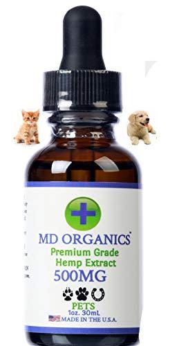 500mg MD Organics Pet Cáñamo puro Aceite para mascotas Perro Gato Caballo Alivio del dolor Articulaciones del estrés Sueño Estado de ánimo Estrés Omegas Grado humano Probado en laboratorio