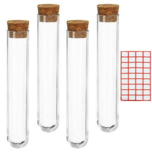 NewZC 20 Stück Kunststoff Reagenzglas mit Natur-Korken 17ml Transparent Reagenzgläser DIY Reagenzglas Deko 18x105mm für Blumen Mandeln Gewürze Süßigkeiten Badesalz Hochzeitsdekoration