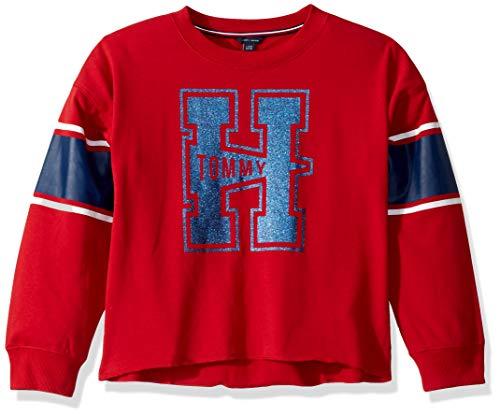 Tommy Hilfiger Little Girls' Long Sleeve Sweatshirt, Scarlet Sage Red, 5