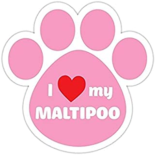 3 Pack - I Love My Maltipoo Pink Bumper Sticker Vinyl Decal