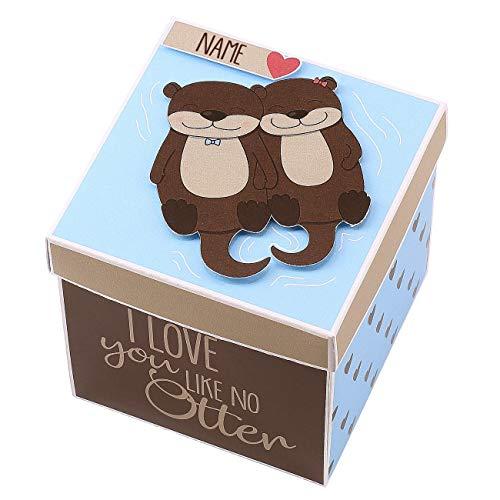 Herz & Heim® Überraschungsbox für Verliebte mit Namensaufdruck - Handgefertigt in Deutschland - I Love You Like no Otter