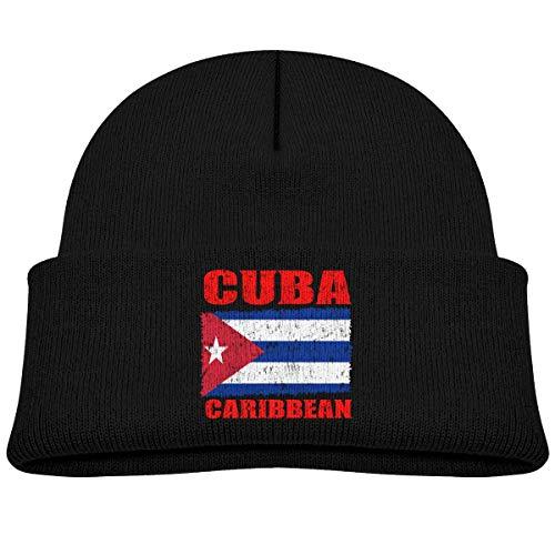 Beanie para niños pequeños Bandera de Cuba Cubana Gorra Vintage para bebé niño Niña Slouchy Algodón Niño Cráneo cálido Sombrero de Punto Negro