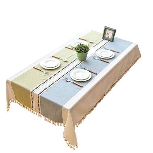 Dexinx Elegante Tovaglia Tavolo Rettangolare Tovaglia Copertura Antipolvere Panno Decorativo per la Cucina (Verde 140 * 180cm)