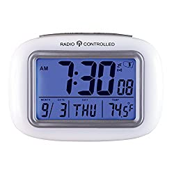 Collections Etc Cordless Atomic Digital Alarm Clock, White