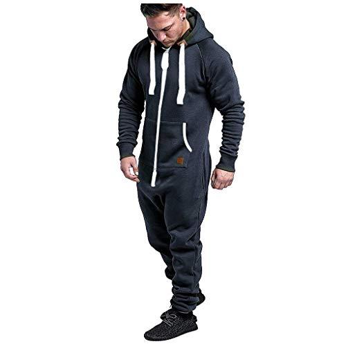 MINIKIMI Herren Jumpsuit Onesie Jogger Einteiler Overall Jogging Anzug Trainingsanzug Casual Hoodie GanzköRperanzug Herbst Winter Zipper GanzköRper Pyjama (XXL, Marine 1)