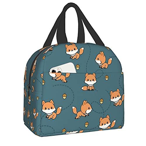 AuHomea Lunchtasche mit niedlichem Baby Fuchs und Tannenzapfen, bedruckt, wiederverwendbar, isoliert, wasserdicht, für Schule, Picknick, für Männer, Frauen, Erwachsene, Kinder, Mädchen, Jungen