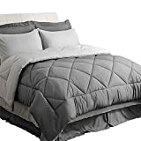 Bedsure Bedding Comforter Sets Queen Comforter Bed in A Bag 8 Pieces - Grey Bedding Sets Queen with Comforter - 1 Comforter, 2 Pillow Shams, 1 Flat Sheet, 1 Fitted Sheet, 1 Bed Skirt, 2 Pillowcases