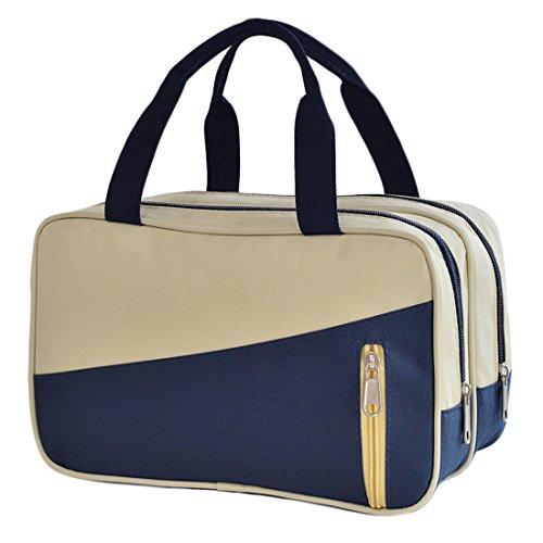 Bolsa de Dooppa, organizador impermeable, con separación para artículos secos y húmedos, bolsa para maquillaje y artículos de aseo personal , beige