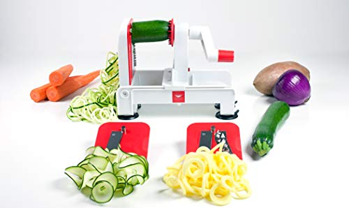 Product Image 6: Paderno World Cuisine 3-Blade Folding Vegetable Slicer / Spiralizer Pro, Counter-Mounted and includes 3 Different Stainless Steel Blades