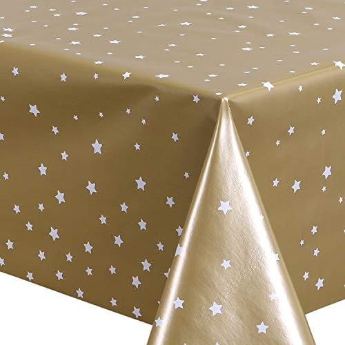 Staboos Sternen Wachstischdecke Galaxy Gold 140x180 cm - Hochwertige PVC Tischdecke abwischbar - Schützendes Wachstischtuch rutschfest und wasserabweisend - Wachstuchtischdecke für Kinder
