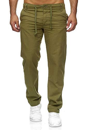Reslad Leinenhose Männer Chino Herren-Hose lockere Sommer Stoffhose Freizeithose aus bequemer Baumwolle lang RS-3000 (M, Khaki)
