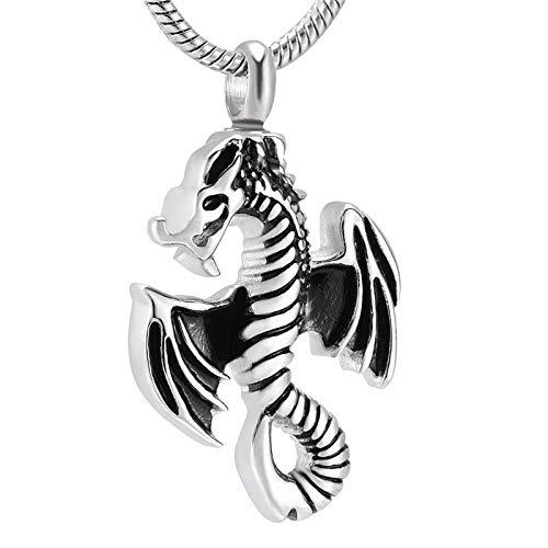 Liart Collar de urna Conmemorativa para Cenizas para Mascotas, Colgante de cremación de dragón Volador grabable, Regalo de joyería de Recuerdo de Acero Inoxidable